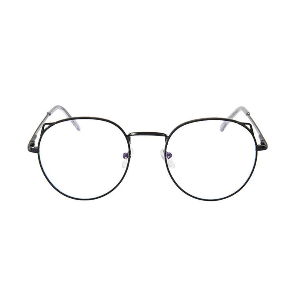 Lifet Unisex Retro Runde Metall Brillen Damen Herren Metall Frame Retro Dekobrille Klassisches Rund Rahmen Glasses Klare Linse Brille Schwarz