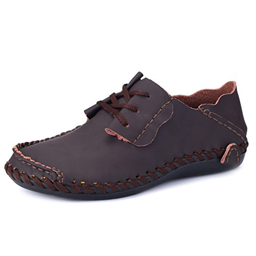 Yachting Leather Boat Boat Slip Lace Mens Deck Flats MERRYHE Shoes Classic Size On Mocassini Driving Coffee Shoe Large Ups x1qnE6I4