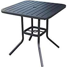 Heavy Duty Steel Frame 29.5 In X 29.5 In Square Bistro Patio Bar Restaurant  Outdoor Dining Table With Umbrella Hole   Black. By Garden Treasures