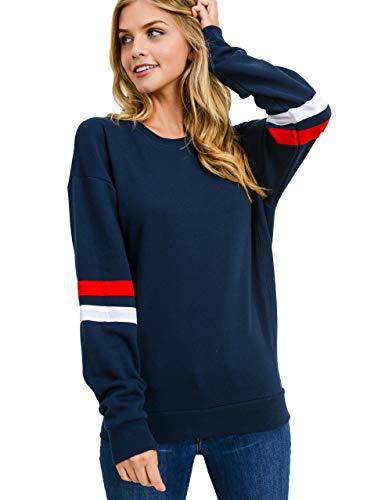 Women's Basic Fleece Stripe on Sleeves Varsity Sweatshirt, Navy, Small