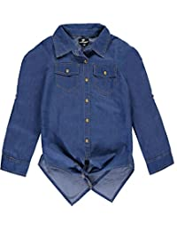 "Dollhouse Big Girls' ""Cross Panel"" Button-Down"