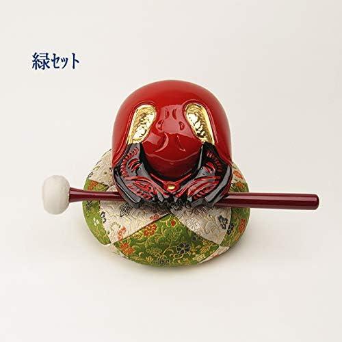 朱塗木魚4寸セット(葵) 【仏具】木魚幅約12cm (緑)