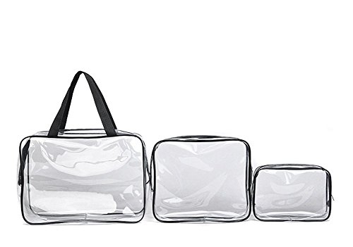 Youtumall 3 Size Included Clear Carry Bag Cosmetic Toiletry PVC Travel Wash Makeup Bag (1#)
