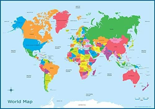 Poster de Mapa del mundo para niños, gráfico de pared educativo A3 ...