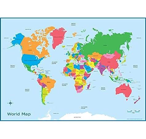 Poster de Mapa del mundo para niños, gráfico de pared educativo A3 (30 cm x 42 cm) póster para niños: Amazon.es: Hogar