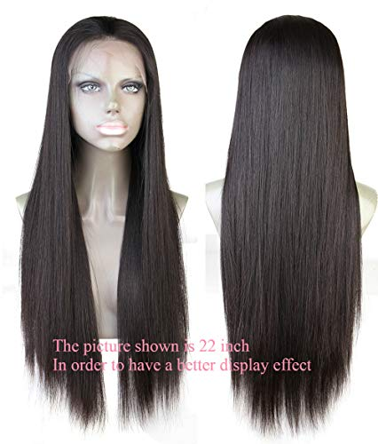 Cbwigs Glueless Brazilian Remy Natural Straight Lace Front Wigs Human Hair 4.5 inch Deep Parting Human Hair Wigs for Black Women with Baby Hair 130% Density (16 inch #1B)