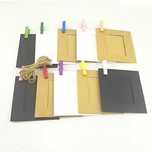 Wall Deco DIY Creative Mini Paper Photo Frame with Mini Colored Clothespins and Twine -Fit Instax Mini Film(Muti-Color) Hellohelio PW-90