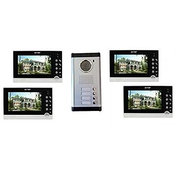 Visiophone couleur pour 4 logements, 4 appartements: Amazon.fr ...