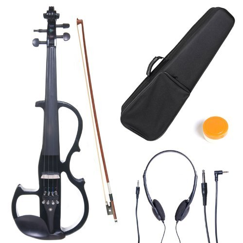 Cecilio 4/4 CEVN-2BK Solid Wood Electric/Silent Violin with Ebony Fittings in Style 2 - Full Size - Black Metallic by Cecilio