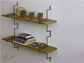 assa design decorative shelf kit set of two wall mounted bamboo shelves with vertical mounting - Decorative Shelf