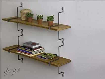 Assa Design Decorative Shelf Kit Set Of Two Wall Mounted Bamboo Shelves With Vertical Mounting