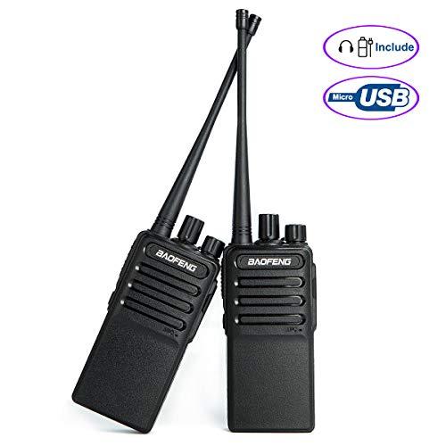 رادیو قابل شارژ Walkie Talkies (میکرو USB) Uhf 400-480Mhz رادیو دو طرفه برای پیاده روی کمپ های سازگار با BAOFENG Bf-888s با 2 هدفون لوله هدفون هوای گوشواره توسط LUITON