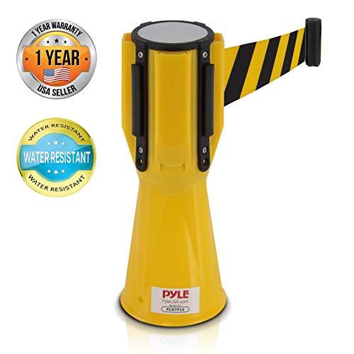 Pyle Retractable Traffic Cone Warning Belt - Hazardous Caution Tape Style, Warning/Emergency Belt, Magnetic & Weather Resistant Design, Interlocking w/Multiple Units & Indoor/Outdoor Use PCNTP16