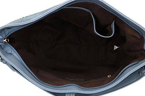 Borsa donna spalla con tracolla PIERRE CARDIN blu con apertura zip VN1720
