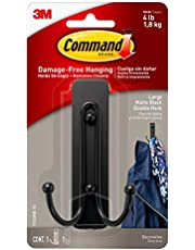Command Large Double Bath Hook, Satin Nickel, 1-Hook