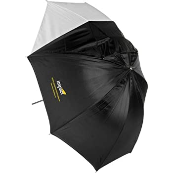 Impact Convertible Umbrella - White Satin with Removable Black Backing - 60""