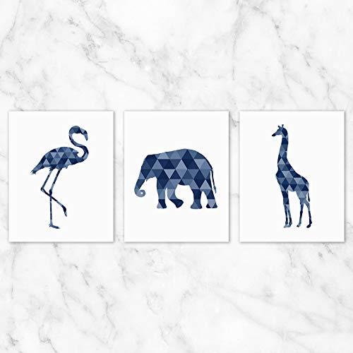 Geometric Safari Animals Wall Art - Set of 3-8x10 Prints on Linen Paper - Unframed (6 Wall Art Set Piece)