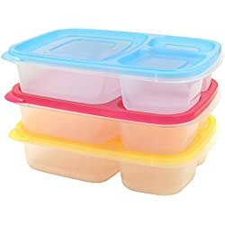 FIXBODY 3-Compartment Bento Lunch Box Containers for Kids & Adults