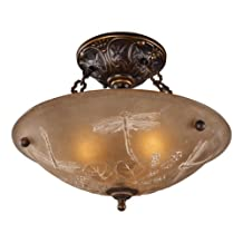 Landmark 08096-AGB Restoration 3-Light Semi-Flush Mount, Golden Bronze, 12-Inch H by 16-Inch W