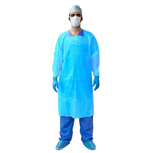 MediChoice Isolation Gown, Cover, Open Back, Overhead, Thumbloop Cuff, Tie Waist, XXL, Blue, 131477876XL (Bag of 10) by MediChoice (Image #1)