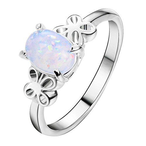 OldSch001 Rings for Women,Butterfly Sides Oval Cut Fire Opal Diamond Band Ring (Sliver, 8)