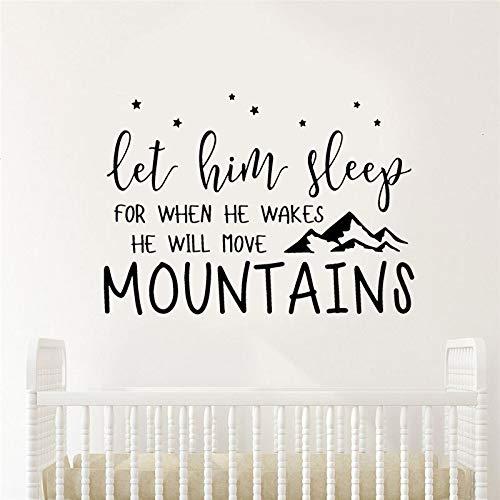 - Let Him Sleep Mountains Star Decals Vinyl Wall Sticker Nursery Kids Room Home Decor Quote Removable Mural Wallpaper Cartoon 8057CM