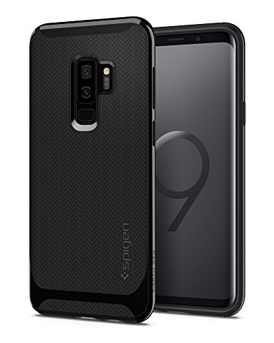 Spigen Neo Hybrid Galaxy S9 Plus Case with Flexible Herringbone Pattern Protection and Reinforced Hard Bumper Frame for Samsung Galaxy S9 Plus (2018) - Shiny Black