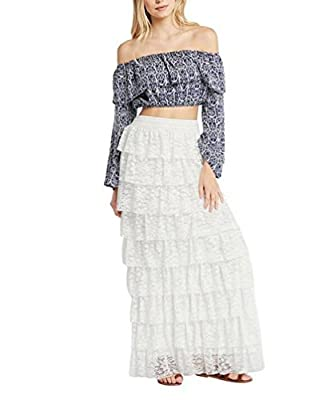 Tomblin Boho Gypsy High Waisted Ruffles Long Maxi Tiered Skirt