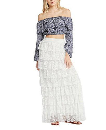 Tomblin Boho Gypsy High Waisted Long Maxi Tiered Skirt (L, White)