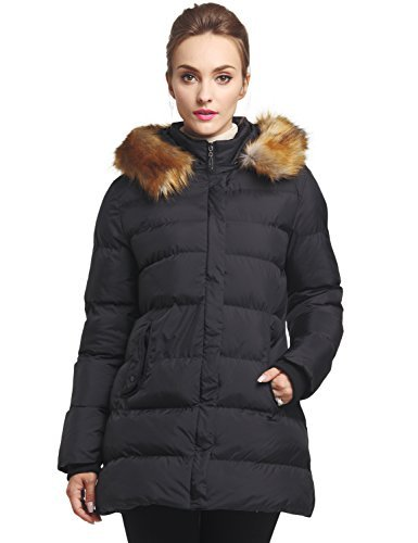WenVen Women's Winter Thicken Padded Parka with Fur Trim Hood(Black,L)