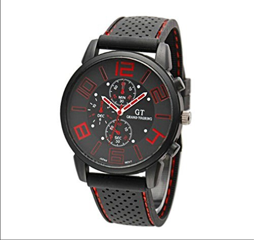 Ryanwayland Fashion Men Sport Watches Luxury Brand Quartz Military Army Wrist Watch (Red)
