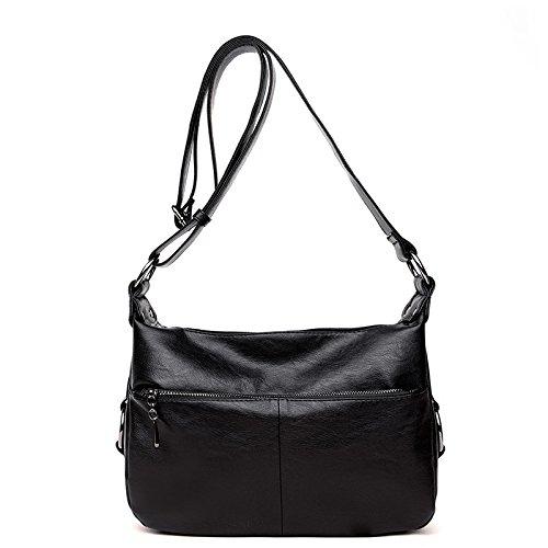 De Zipper Nuevo Aged black Cremallera Middle Simple con Madre De Bolso Negro Hombro Meoaeo Cuero Mujer q1CTwE66x
