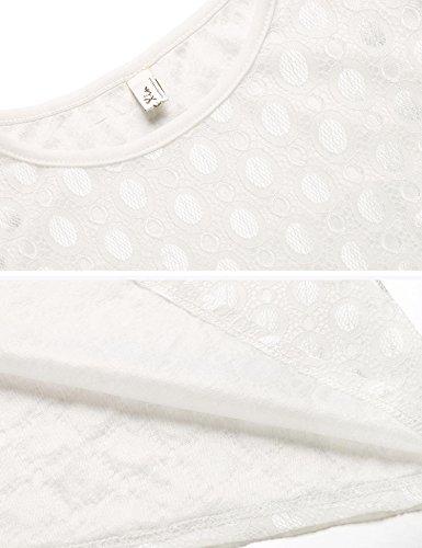 0069c165a37421 ... ZEARO Damen Lange Kleider Spitze 3/4 Ärmel Elegant Abendkleid  Partykleid Maxi Kleid Weiß Weiß ...