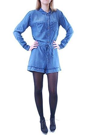 a0b245e973f9 Rails Women s Harlow Tencel Denim Romper Long Sleeve Dark Vintage Wash Size  S  Amazon.co.uk  Clothing
