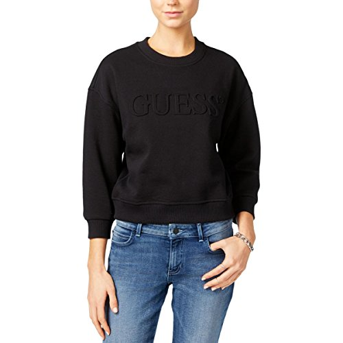 GUESS Womens Logo Cropped Sweatshirt Black - Guess Is Designer