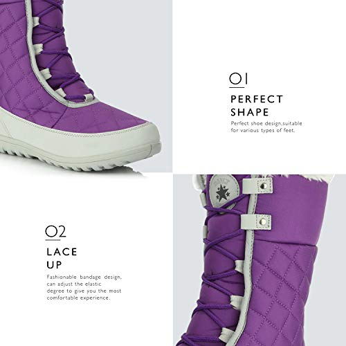 Flat Women's Calf Ankle Boots Round Purple Eskimo High Toe Fur Mid Comfort DailyShoes Snow Winter 1xHqYBY