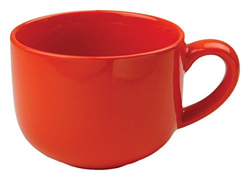 24 ounce Extra Large Latte Coffee Mug Cup or Soup Bowl with Handle - Orange