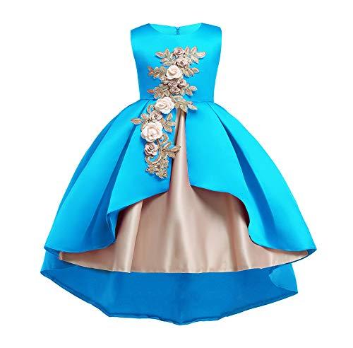 unyielding1 Flower Girls Dress Wedding Bridesmaid Formal Dress Trailing Performance Suit(Blue 2 140cm)