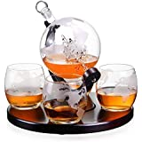 Royal Decanters Etched Globe Whiskey Decanter Gift Set- Glasses & Glass Beverage Drink Dispenser also for Brandy Tequila Bourbon Scotch Rum -Alcohol Related Gifts for Dad (850ML) (4 Glass Round)