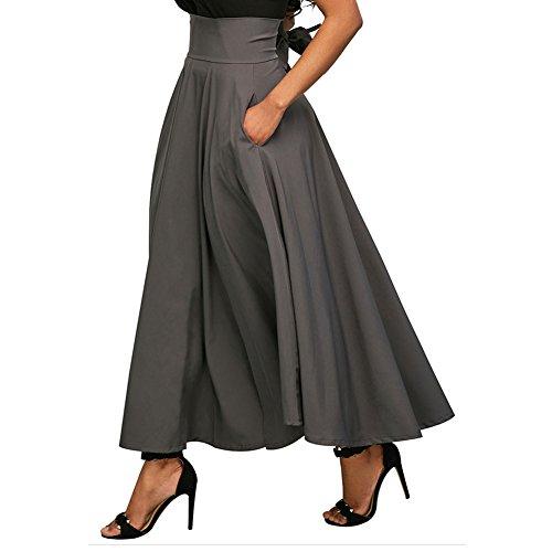 Rtro Jupes Jupon Jupe avec Vintage pour Femmes Ceinture Maxi Haute Solide Juleya Vacances Femme lgante Jupe Party Gris Taille Bureau Jupons q61ntp