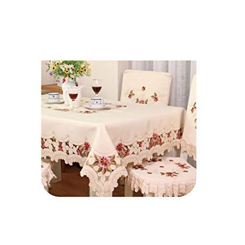 European Garden Embroidery Tablecloth Elegant Dining Table Cloth Thicken Chair Cover Cushion backrest Round Table Cover Sale,40cm X 150cm