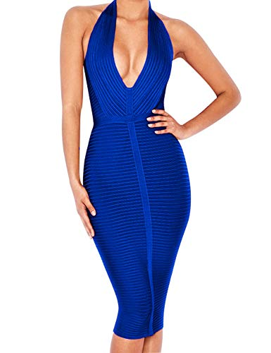 - Beacher Zacharias Women's Sexy Deep V Neck Halter Striped Evening Party Club Midi Bandage Dress RoyalBlue S