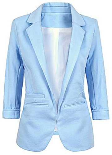 Faddish Womenu0027s Cotton Basic Boyfriend Ponte Rolled Blazer Jacket Suits at  Amazon Womenu0027s Clothing store: