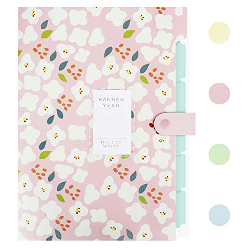 Lanivas Floral Print Expanding File Folder A4 Letter Size 5 Pockets Heavy Duty Accordion Document Organizer with Snap Closure - Free Labels ()