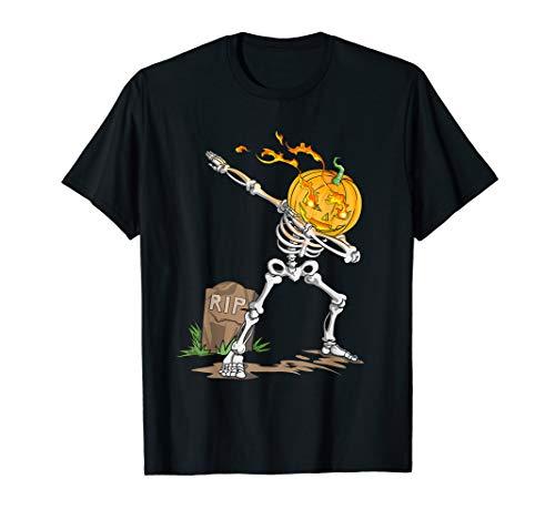 (Dabbing Skeleton Halloween Pumpkin Head T-Shirt)