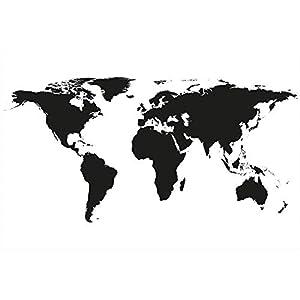 GREAT ART Mural de Pared – Mapa Mundial en Blanco y Negro – Mapa Continentes Mapa del Mundo Globo Tierra Geografía Mundial Foto Papel Pintado Y Tapiz Y Decoración 210 x 140 cm