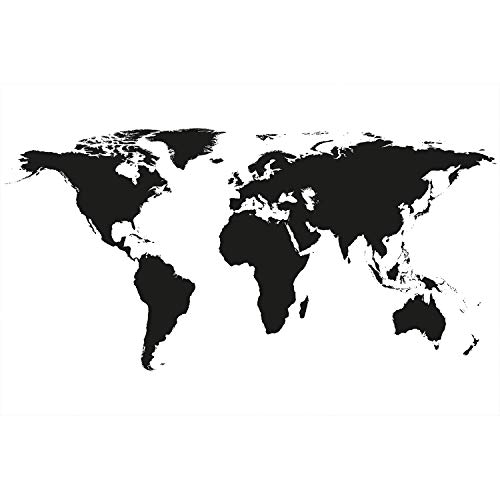 Great Art Black and White Wold Poster - Atlas Wall Decoration Earth Picture Wallpaper Map Globe Mural (55 Inch x 39.4 Inch/140 cm x 100 cm) (Country Print Wallpaper)