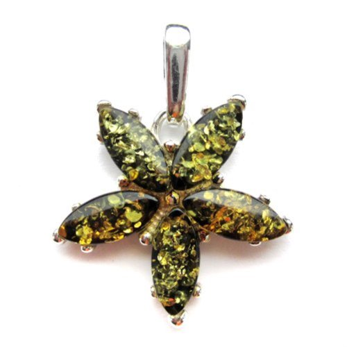 - Green Amber Sterling Silver Pendant Charm
