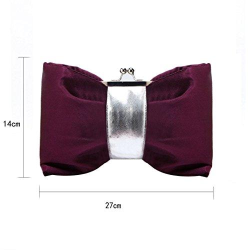 Bag Purse Satin Shape Bowknot Mily Womens Evening Purple wqSC6npxt
