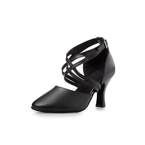 Misu Women's Closed toe Suede Sole Latin Salsa Tango Practice Ballroom Dance Shoes with 3.1